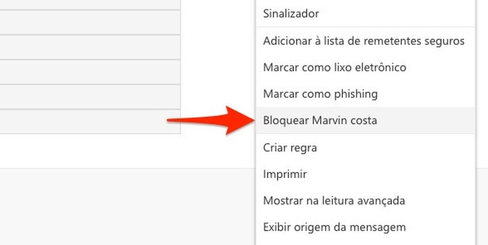 Ação para bloquear um remetente de e-mail no Outlook — Foto: Reprodução/Marvin Costa
