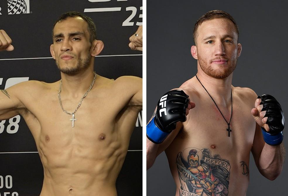 Tony Ferguson e Justin Gaethje fazem a disputa do cinturão interino dos pesos-leves no UFC 249 — Foto: Infoesporte