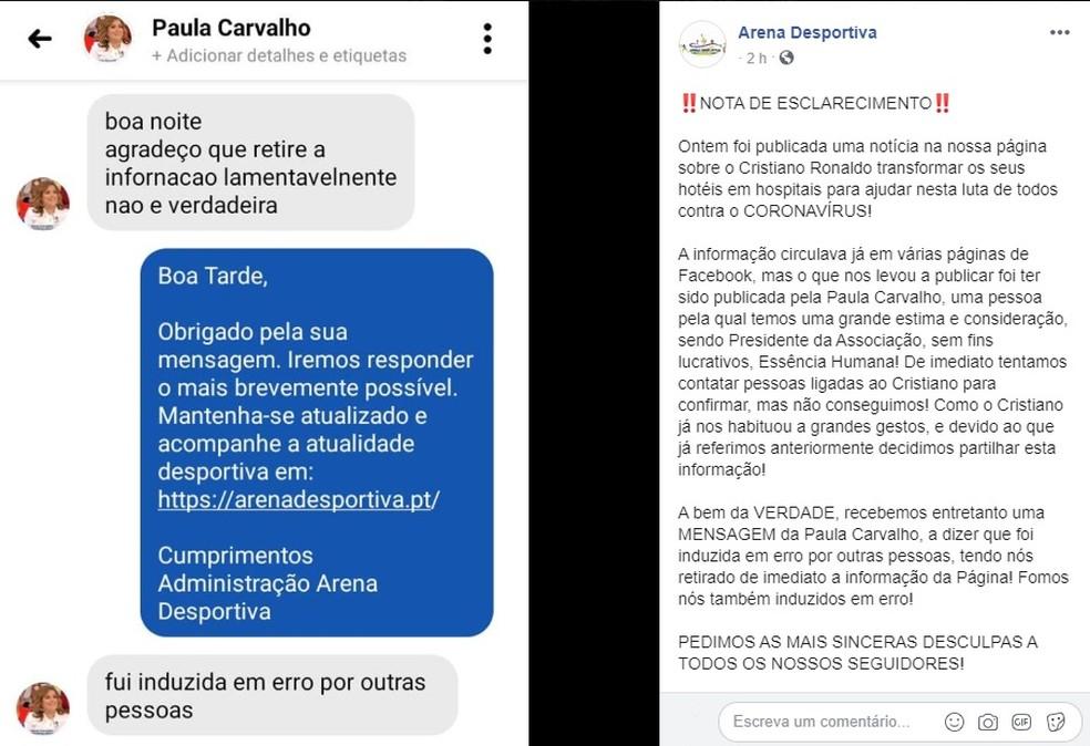 Conversa com Paula Carvalho, da Associação Essência Humana, divulgada pelo site Arena Desportiva no Facebook que desmente a informação de que Cristiano Ronaldo transformará hotéis em hospitais de pacientes infectados pelo novo coronavírus — Foto: Reprodução de Facebook