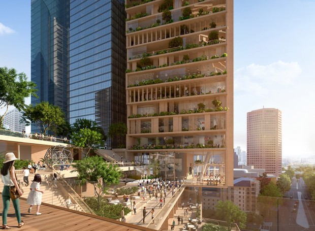 O projeto também possui uma área de entretenimento aberta ao público (Foto: UNStudio e Cox Architecture/ Reprodução)