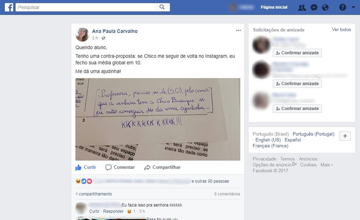 Aluno pede nota e professora promete 10 se Chico Buarque a seguir no Instagram