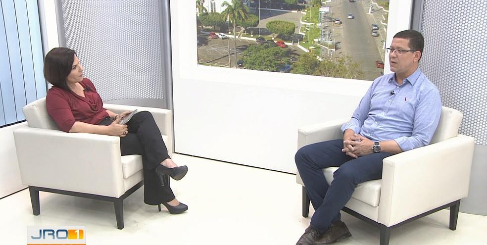 Governador eleito participou de entrevista no Jornal de Rondônia 1ª Edição nesta segunda-feira (29).  — Foto: Reprodução/Rede Amazônica