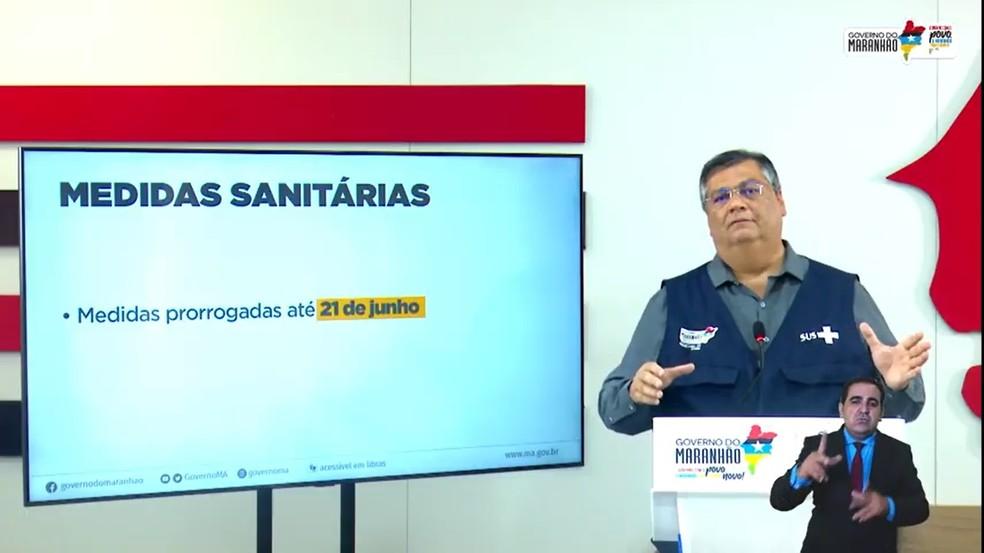 Flávio Dino, governador do Maranhão, em coletiva nesta sexta-feira (11). — Foto: Reprodução