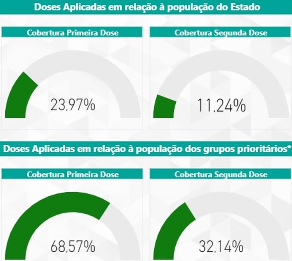 Apenas 11,24% do total da população de MG já recebeu as duas doses de vacina contra a Covid. — Foto: SES-MG
