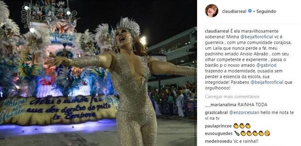 Cláudia Raia comemora título da Beija-Flor (Foto: Reprodução/Instagram)