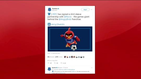 """Patrocínio do """"Angry Birds"""" causa revolta dos torcedores do Everton"""
