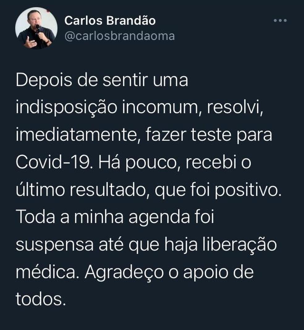 Carlos Brandão confirmou a informação nessa quarta-feira (11) por meio de uma rede social — Foto: Divulgação/Redes sociais