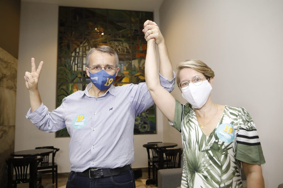 Mário e Maria eleitos prefeito e vice em Blumenau,SC — Foto: Patrick Rodrigues/NSC