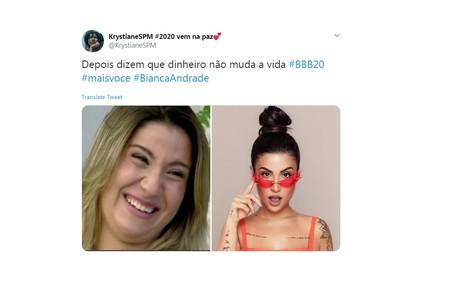 Para usuária do Twitter, nova condição financeira ajudou a carioca a melhorar sua imagem Reprodução/Twitter