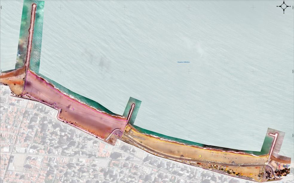 Imagem de 26 de novembro 2020. Área da Praia de Iracema já é de 127 mil m² de praia, enquanto a área da Beira Mar já é de 149 mil m². — Foto: Reprodução/Adely Pereira Silveira, PPG em Geografia da UECE
