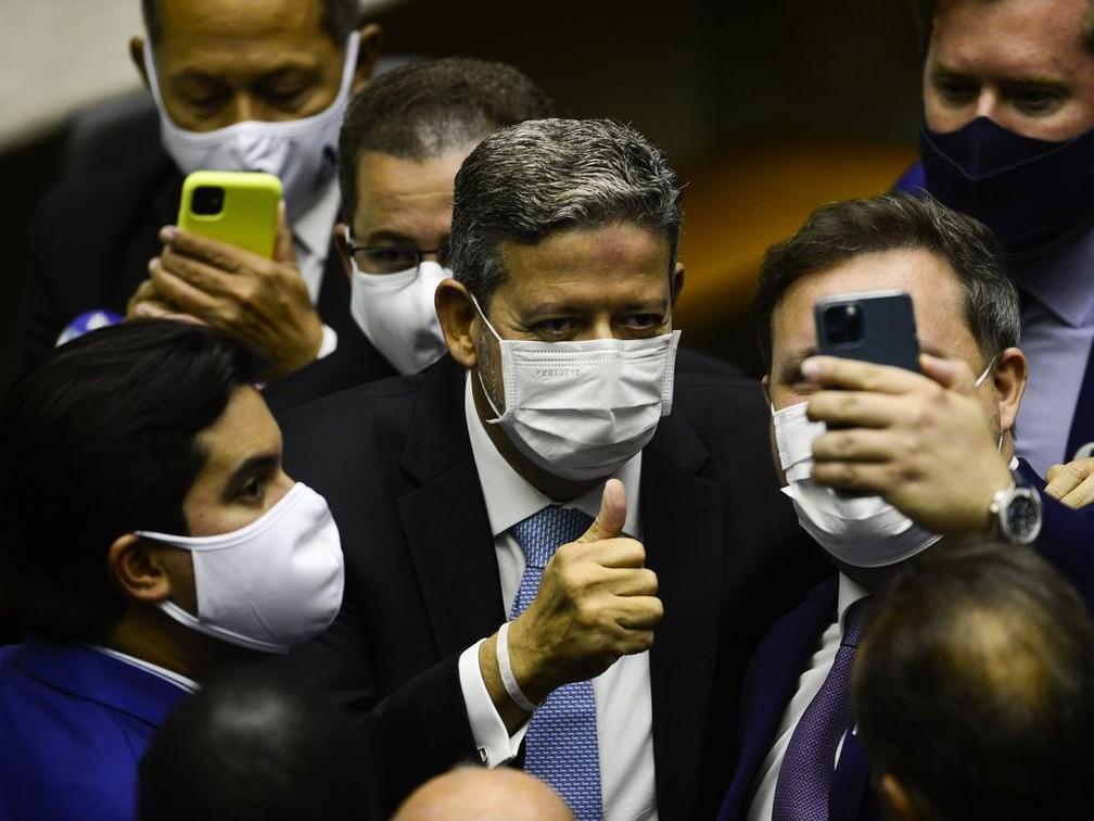 Arthur Lira após vencer a eleição na Câmara — Foto: Marcelo Camargo/Agência Brasil