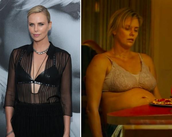 A atriz Charlize Theron engordou 22 quilos para protagonizar a comédia Tully (Foto: Getty Images/Reprodução)
