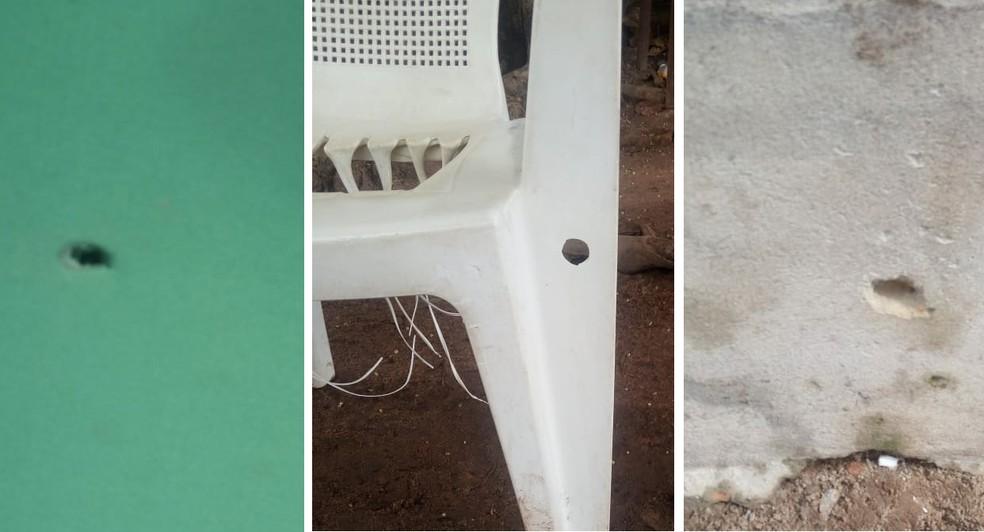Marcas que seriam de disparos contra acampamento de venezuelanos no abrigo Jardim Floresta (Foto: Arquivo pessoal )