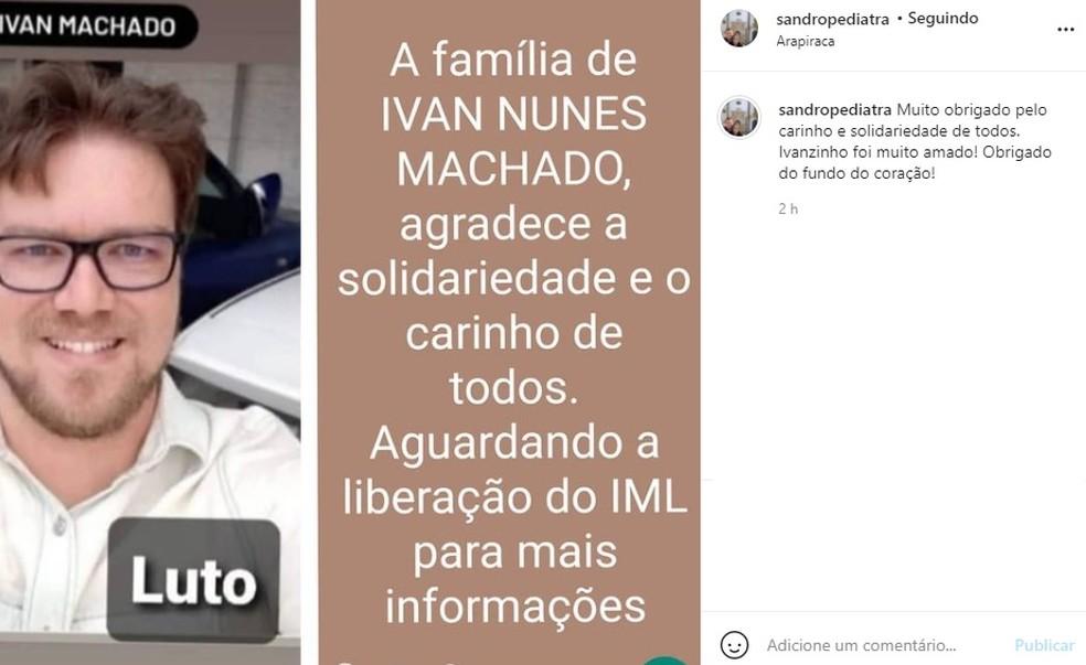 Pediatra Sandro Lins Pedrosa fala sobre morte do irmão Ivan Nunes Machado, encontrado morto em Arapiraca, AL — Foto: Reprodução/Instagram