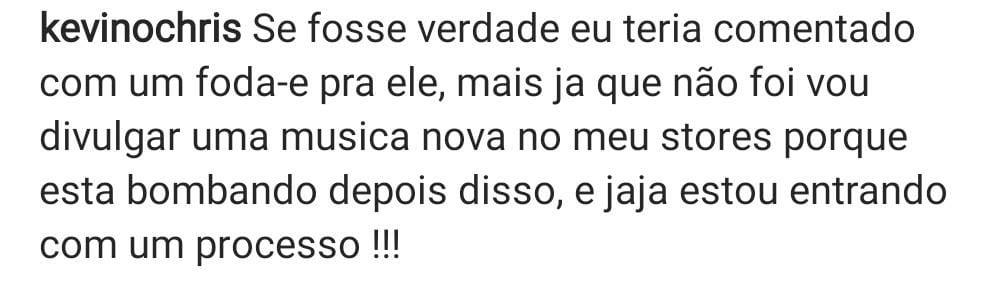 Kevin O Chris rebate Erasmo Viana, que diz ter visto o cantor beijando um homem (Foto: Reprodução/Instagram)