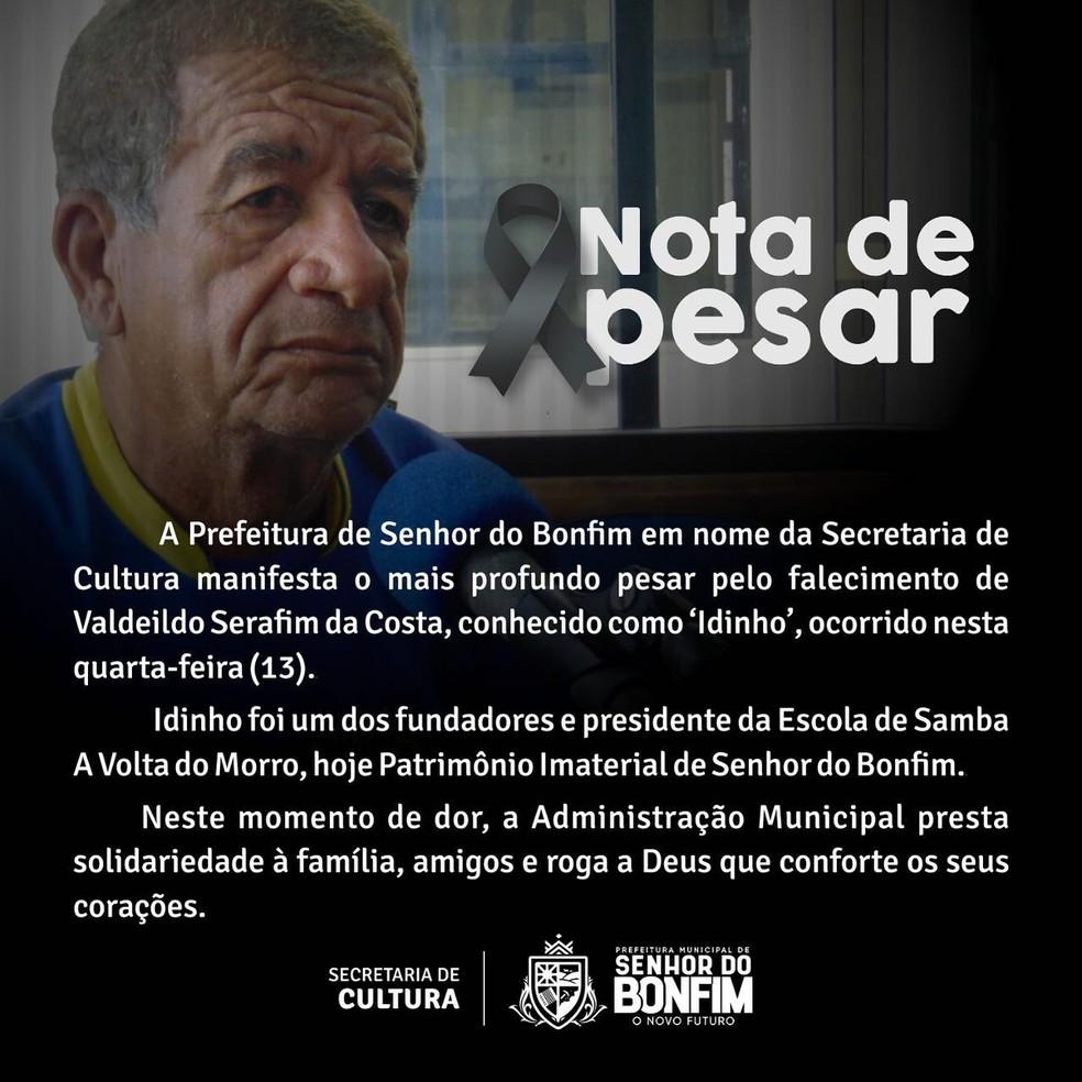 Em nota, a prefeitura de Senhor do Bonfim lamenta a morte de Idinho.  — Foto: Prefeitura municipal de Senhor do Bonfim