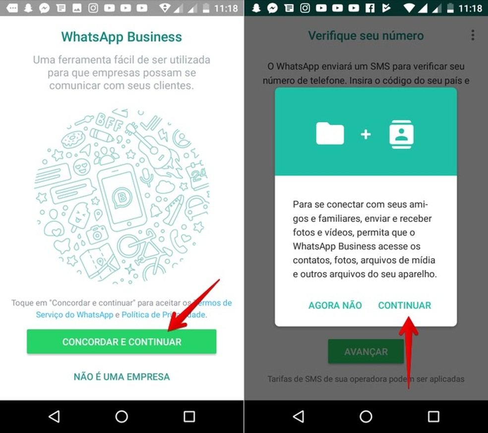 Configurando o WhatsApp Business (Foto: Reprodução/Helito Bijora)