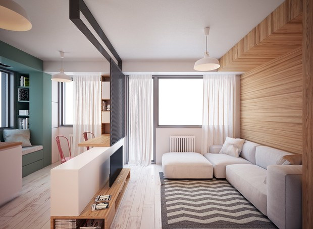 A divisão dos cômodos no projeto do designer Nikola Kungulovski deu um visual mais amplo ao espaço de 35m² (Foto: Behance/ Reprodução)
