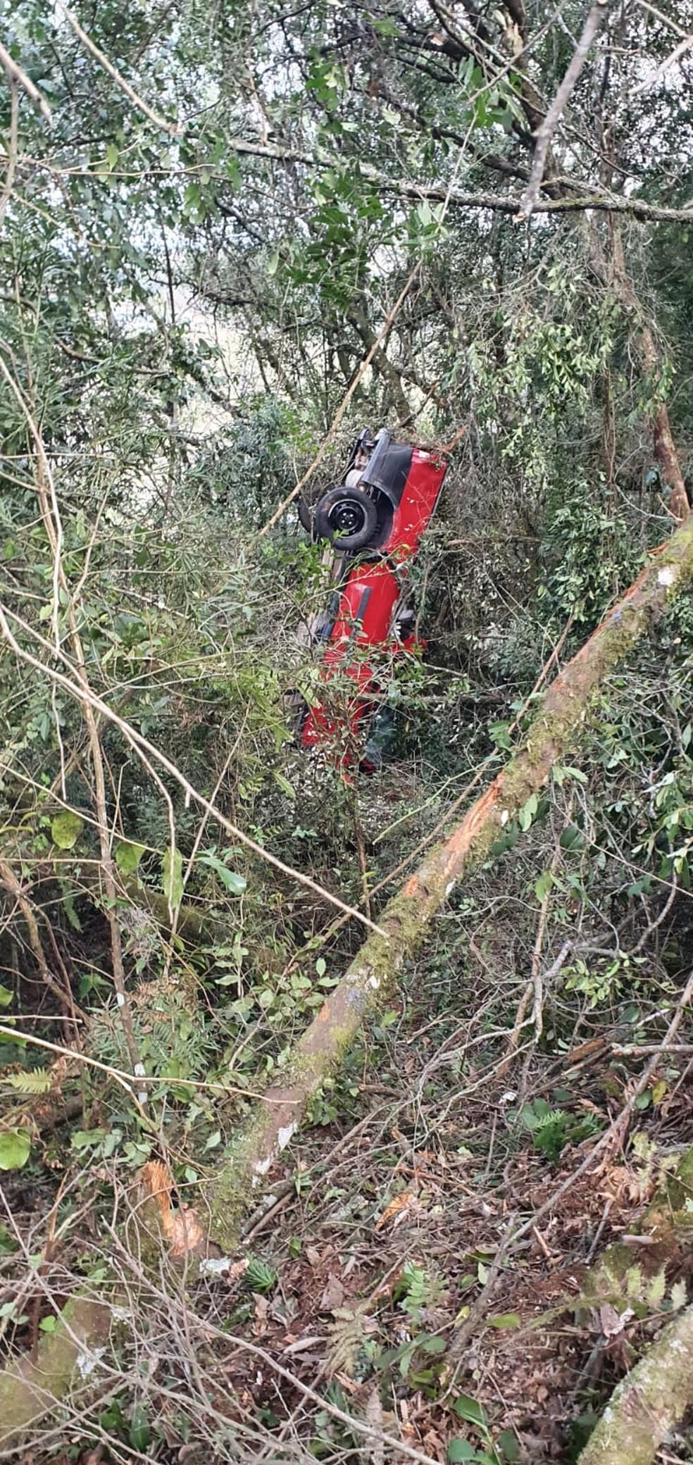 Carro em meio a árvores em mata de Lages, após sair de pista e capotar — Foto: CBM/Divulgação