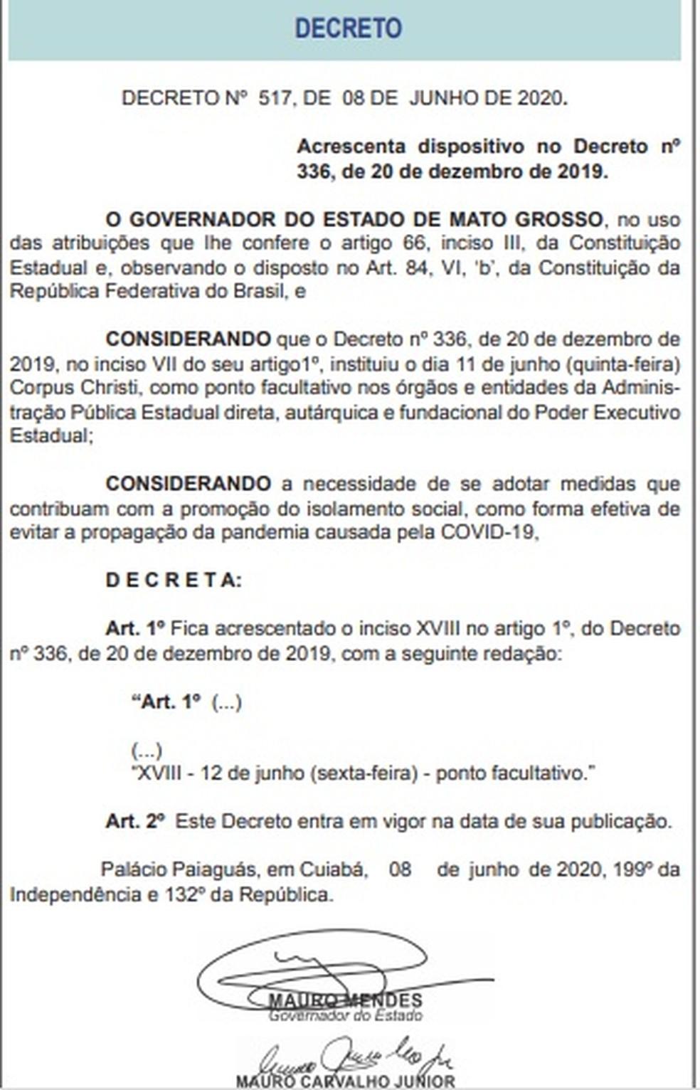 Decreto foi publicado nesta terça-feira (8) — Foto: DOE/Reprodução