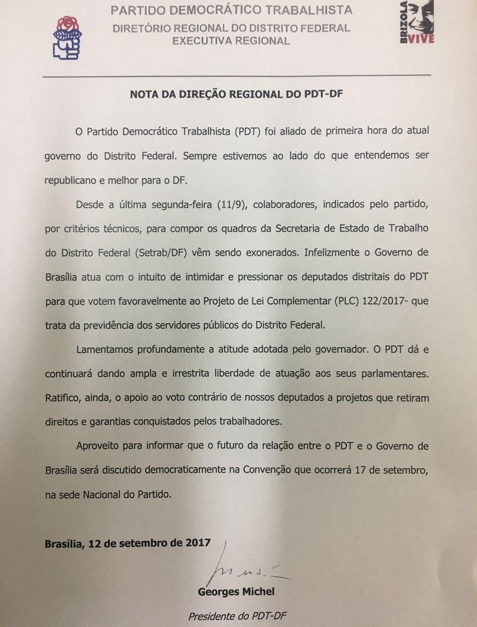Nota divulgada pelo PDT-DF sobre as exonerações   (Foto: Reprodução )