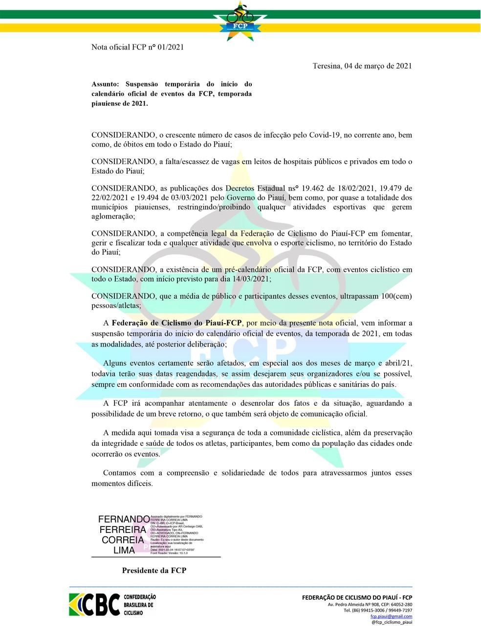 Nota da Federação de Ciclismo do Piauí suspendendo o início do calendário 2021 — Foto: Reprodução/FCP