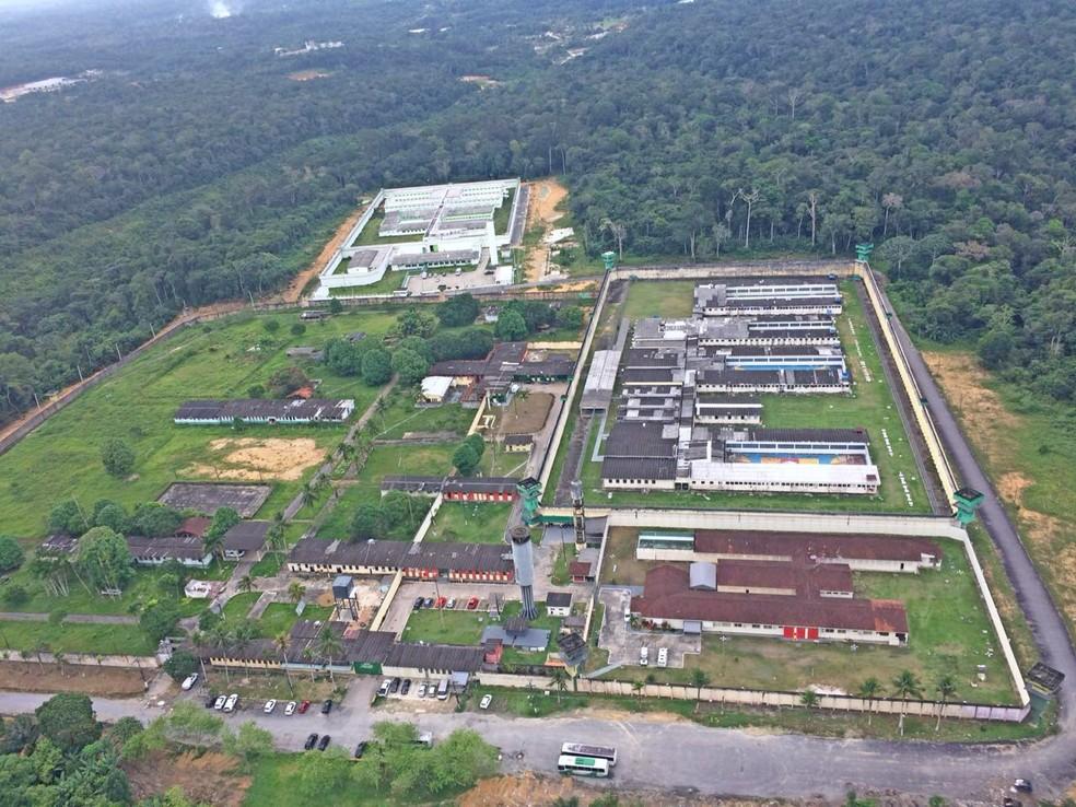 Vista aérea do Complexo Penitenciário Anísio Jobim (Compaj), em Manaus — Foto: Luana Borba/Rede Amazônica