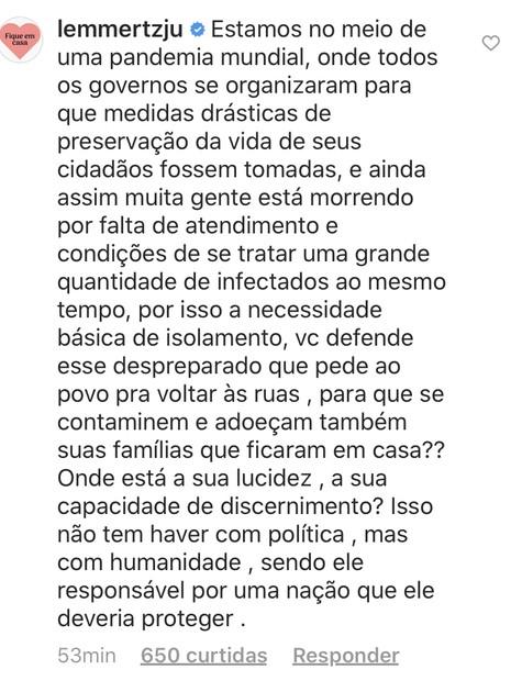 Comentário postado por Julia Lemmertz (Foto: reprodução/ Instagram)