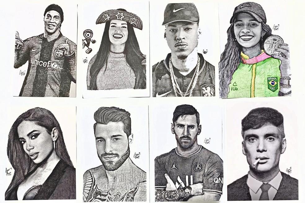 Personalidades foram homenageadas pela desenhista Ana Clara Martorano, que utilizou escrita para formar o retrato. — Foto: Arquivo Pessoal