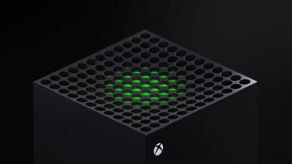 Xbox Series X: saída de ar tem visual de grelha — Foto: Reprodução/YouTube Microsoft