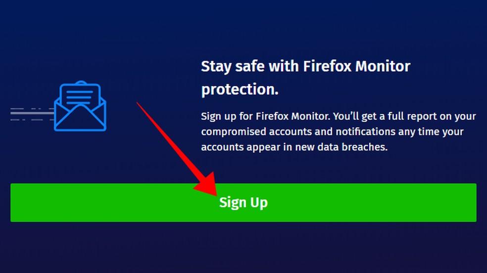 Cadastre-se no alerta do Firefox Monitor — Foto: Reprodução/Paulo Alves