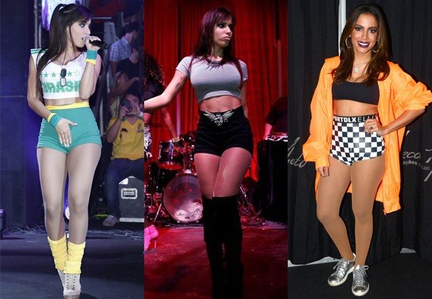 Anitta durante apresentações em 2013 e em junho de 2018 (dir) (Foto: Waldemir Filetti/Divulgação; Felipe Panfili/AgNews; e Eduardo Martins/AgNews)