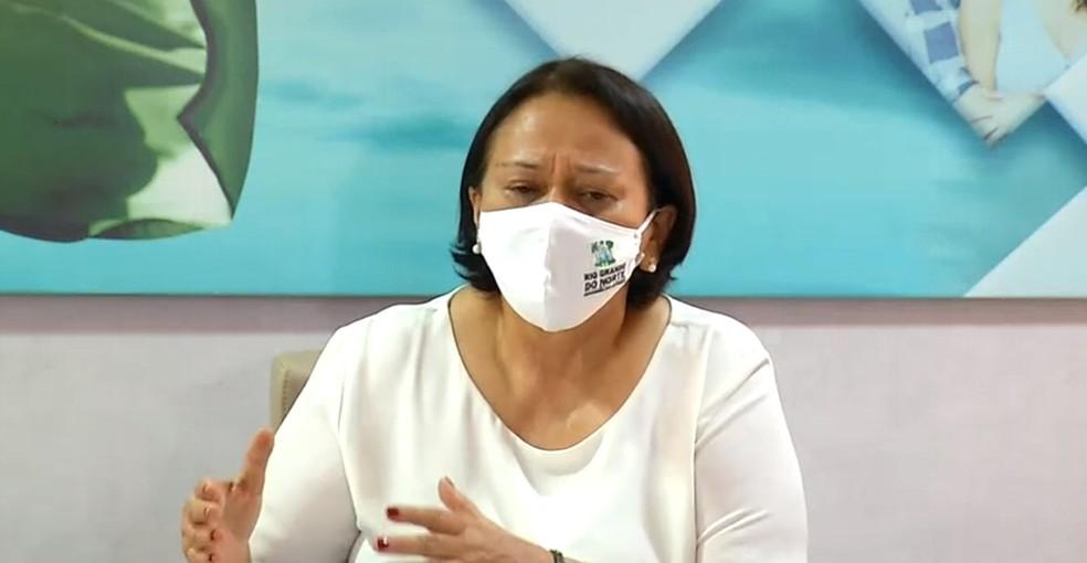 Governadora do RN, Fátima Bezerra, afirma que governo vai reavaliar autorizações para eventos de fim de ano. — Foto: Reprodução/Inter TV Cabugi