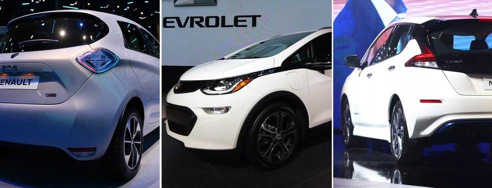 """Salão do Automóvel tem 3 """"elétricos populares"""": Renault Zoe, Chevrolet Bolt e Nissan Leaf — Foto: Marcelo Brandt/Fabio Tito/G1"""