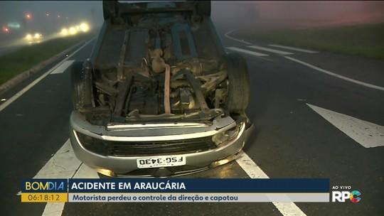 Motorista abandona carro depois de acidente na BR-476 na Região de Curitiba