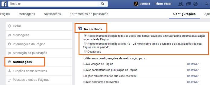 Escolha a melhor forma de ser notificado de ações em sua Página do Facebook (Foto: Reprodução/Barbara Mannara)