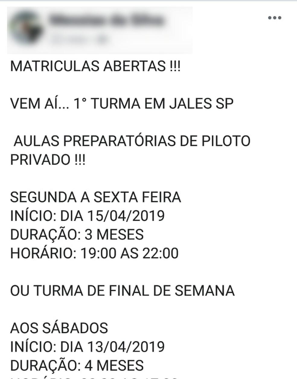 Dono de auto escola fugiu de MS após golpe e já estava oferecendo pacotes de voo no interior de SP — Foto: Polícia Civil/Divulgação