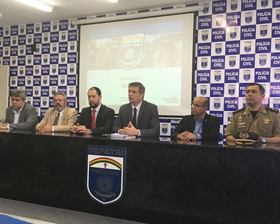 Polícia Civil apresentou, nesta quarta-feira (2), no Recife, balanço da' Operação Durga' (Foto: Ascom/Polícia Civil)