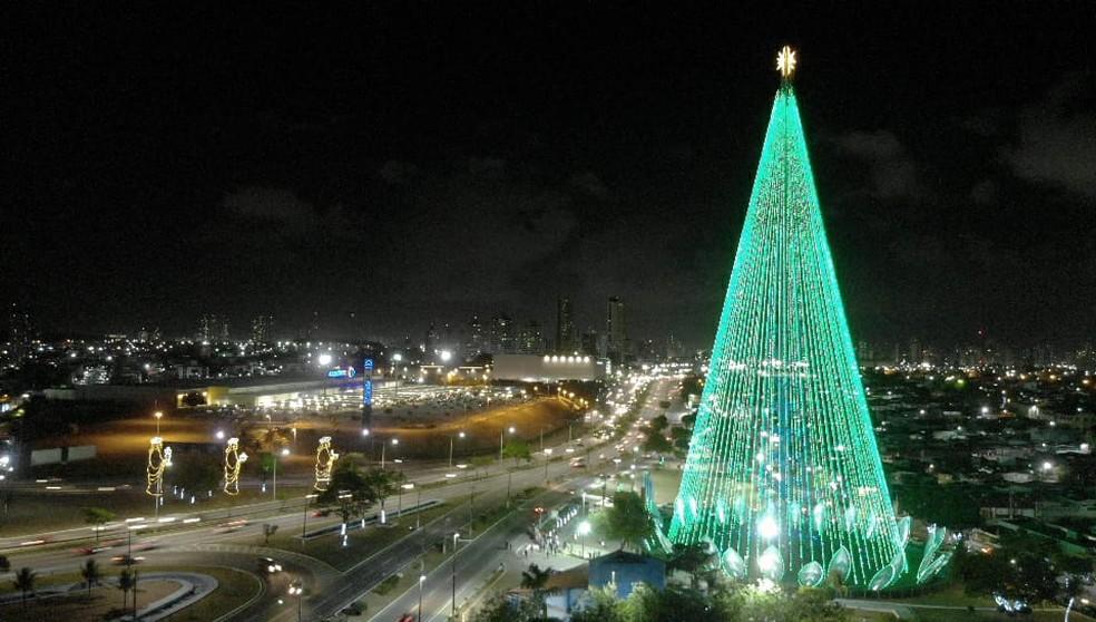 Árvore de Mirassol é acesa em Natal — Foto: Alex Régis