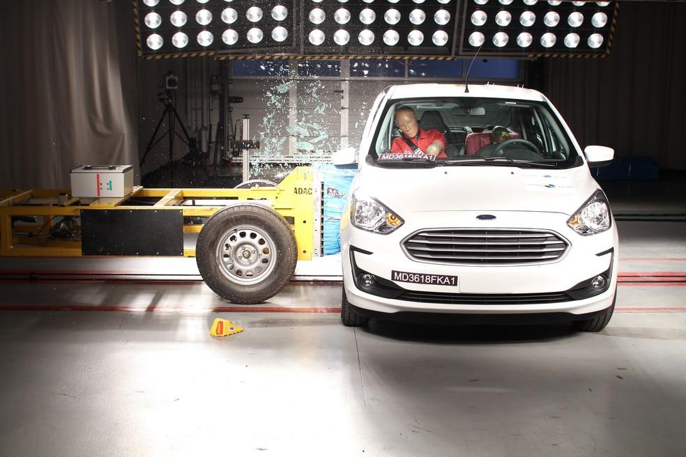 Ford Ka Latin zerou o primeiro teste, foi a três estrelas no segundo a agora voltou a zerar no novo protocolo — Foto: Divulgação