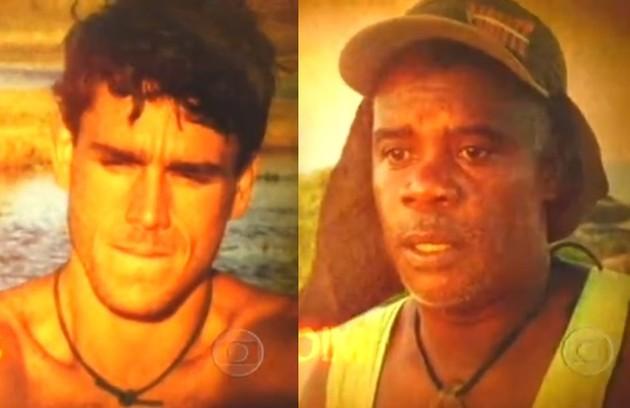 A primeira polêmica do reality foi um episódio de racismo. O participante Marcus Werner chamou o líder comunitário Amendoim de 'crioulo'. (Foto: Reprodução)