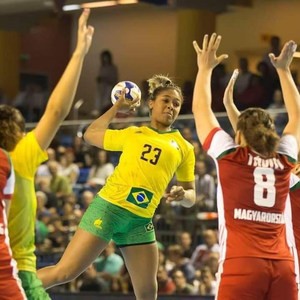 Gilvana Mendes Nogueira atuando pela seleção brasileira — Foto: Divulgação