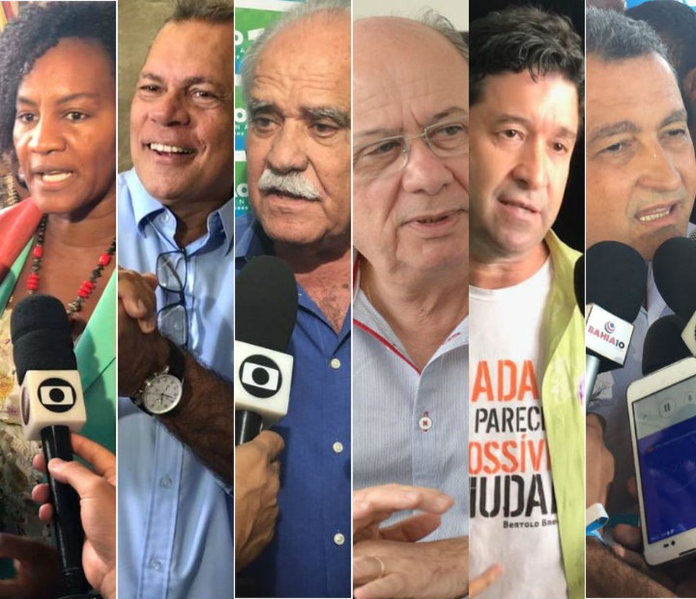 Seis candidatos vão concorrer ao cargo de governador da Bahia nas eleições 2018 (Foto: Arte/G1)