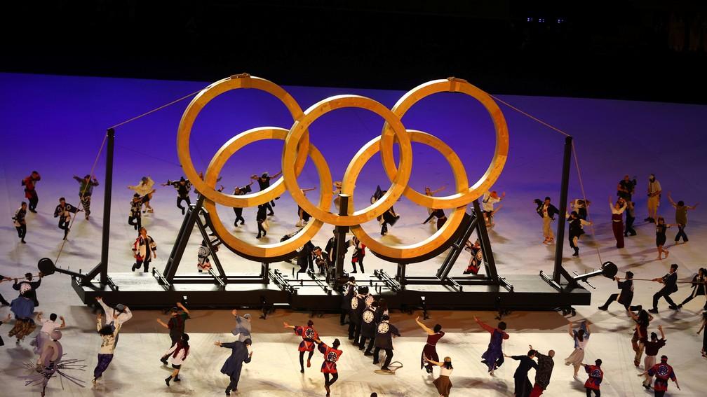 Dançarinos durante a cerimônia de abertura dos Jogos Olímpicos de Tóquio, no Japão — Foto: Leonhard Foeger/Reuters