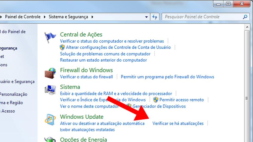 Em Sistema e Segurança, ative o Windows Update — Foto: Reprodução/Paulo Alves