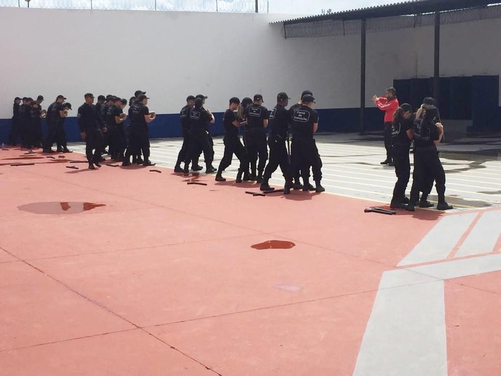 Agentes penitenciários do RN durante treinamento (arquivo) — Foto: Sejuc/Divulgação