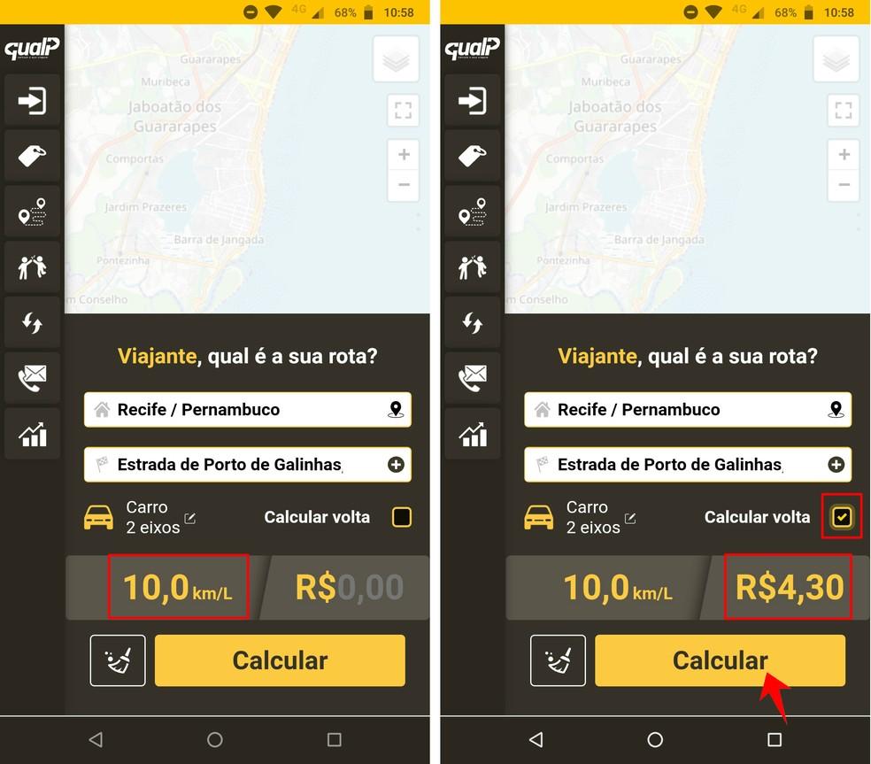 QualP solicita informações de consumo para calcular combustível corretamente — Foto: Reprodução/Rodrigo Fernandes