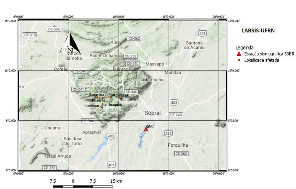 Mapa do Sismos Nordeste mostra as localidades afetadas. — Foto: Sismos Nordeste