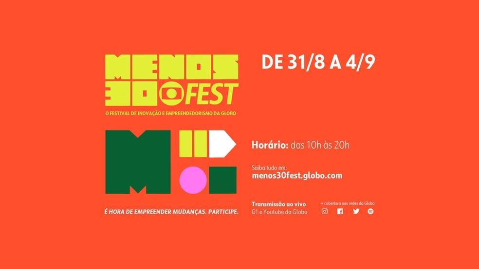 8ª edição do Menos30 Fest será totalmente virtual — Foto: Reprodução