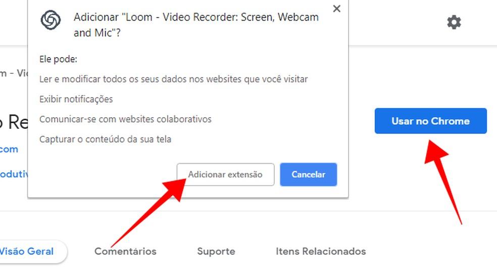 Baixe e instale a extensão Loom no Chrome — Foto: Reprodução/Paulo Alves